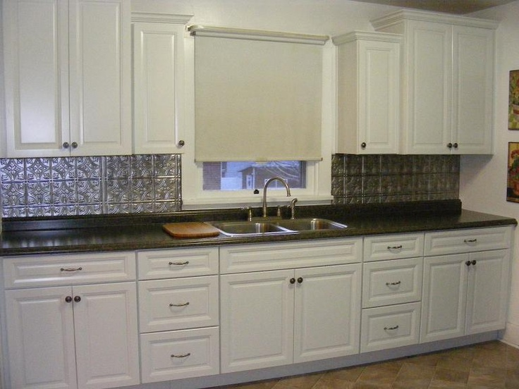 White Transitional Kitchen Staggered Wall Cabinets Metal Look Backsplash My Room Designs
