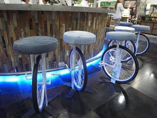 Bike stools.....spinning while sitting.  If pedaling could help power the lights, that would be even better!