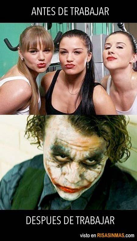 Maquillaje antes y después de trabajar.