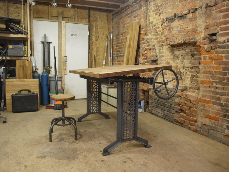 Oak Industrial Drafting Table Desk... I Like This A Lot, But Instead