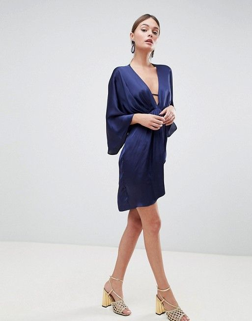DESIGN mini plunge satin kimono dress in 2018  b5387ac882c