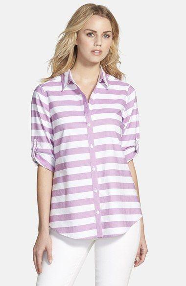 Petite Women's Foxcroft Stripe Oxford Cotton Shirt