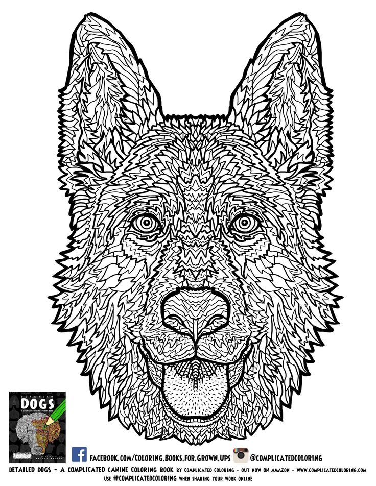 German Shephard Adult Coloring Page Complicated Coloring
