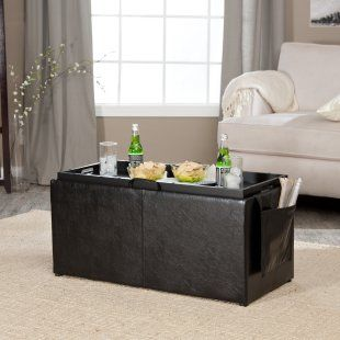 Hartley Coffee Table Storage Ottoman with Tray - Side Ottomans & Side Pocket - Coffee Tables at Coffee Tables Galore