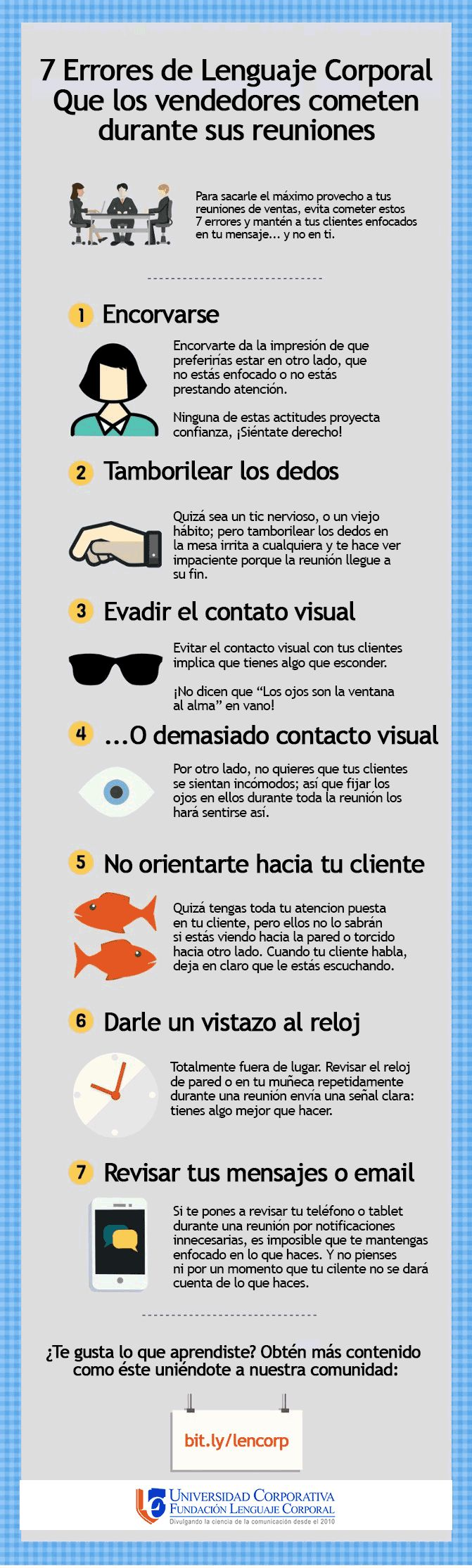7 Errores que cometes al reunirte con un cliente #infografía #infographic #marketing