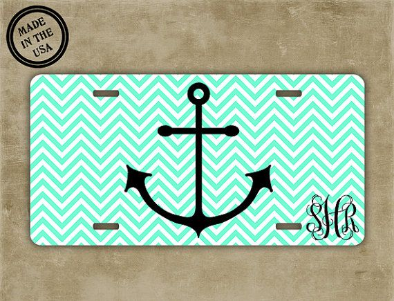 Hey, I found this really awesome Etsy listing at https://www.etsy.com/listing/164563708/anchor-monogrammed-license-plate-mint