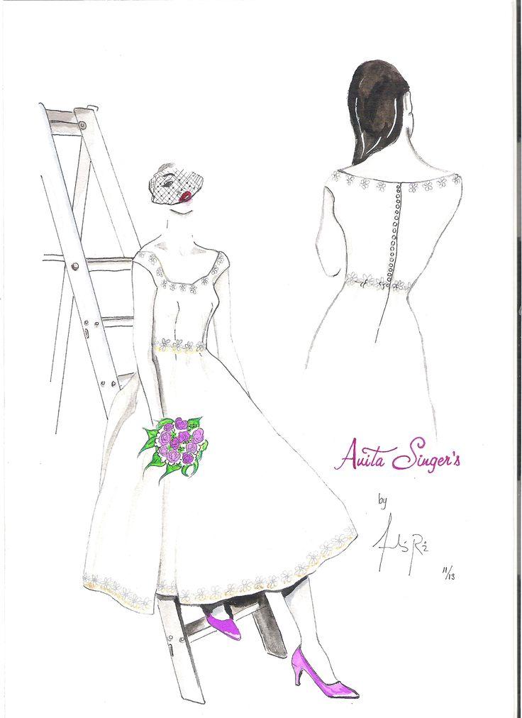 Ilustración Vestido Kelly Novia By Anita Singers. Por Andres Ruiz Ilustrador. www.facebook.com/pages/Anita-Singers/565541916806170