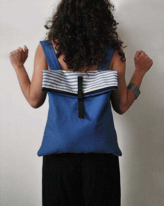 Nautical backpack Messenger bag Striped canvas bag Waterproof blue royal bag Handmade women bag Designer bag Summer rucksack Gift for her