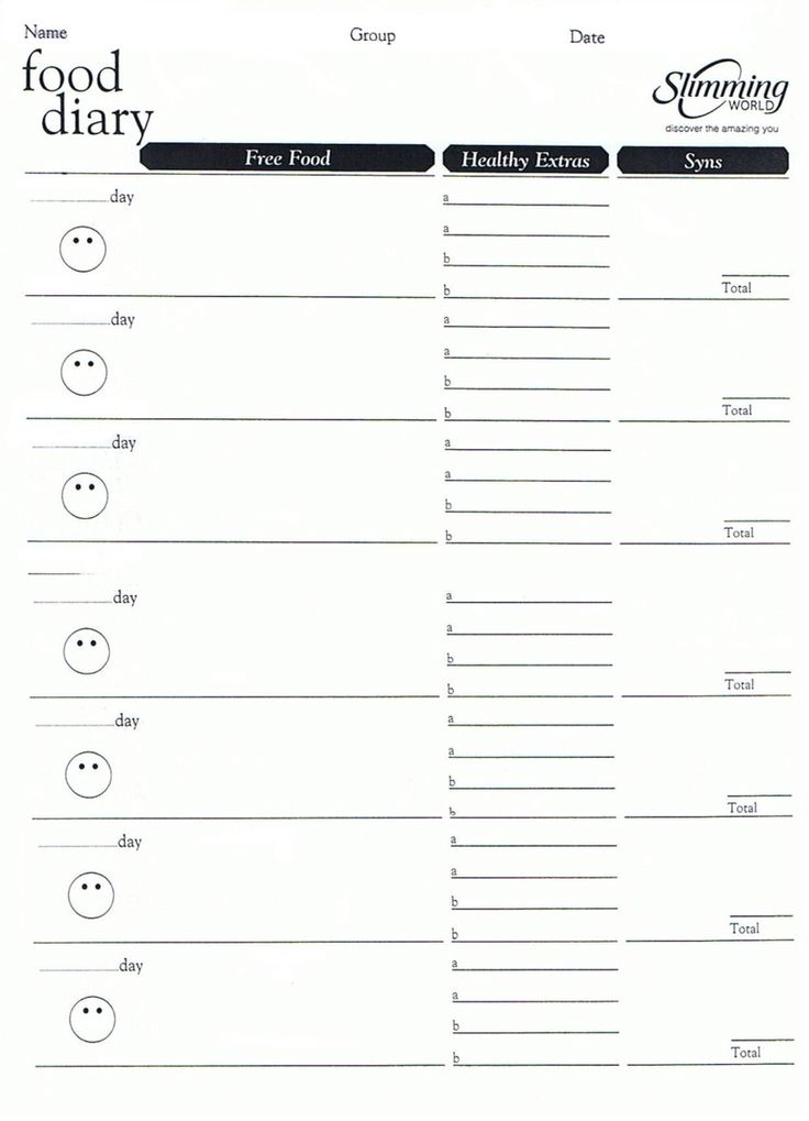 Slimming world food diary template                                                                                                                                                                                 More