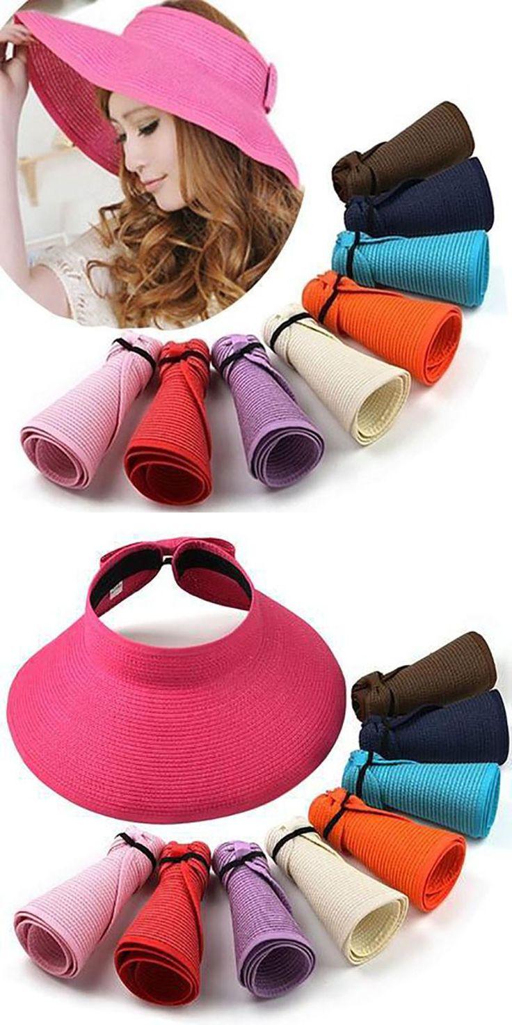 summer ladies sun hats straw floppy foldable roll up wide brim sun visor beach cap outdoor chapeau femme womens hats and caps