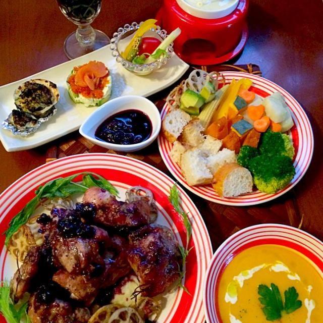 今宵はスイス料理⛄️ 色々調べてみたけど、ラクレットかじゃがいも料理後はお肉ふんだんなオイルフォンデュ♨なのでスイス料理店のコースなど参考に合わせてみました(*´艸`) - 65件のもぐもぐ - Today's Swiss cuisine Dinnerオードブル・チーズフォンデュ・南瓜ポタージュ・ローストスペアリブ by honeybunnyb