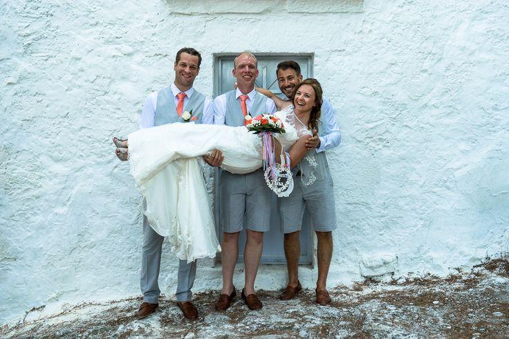 So happy - Bride - Groom - Best men #weddingphotos #weddinginkefalonia #ionian islands #chapelwedding