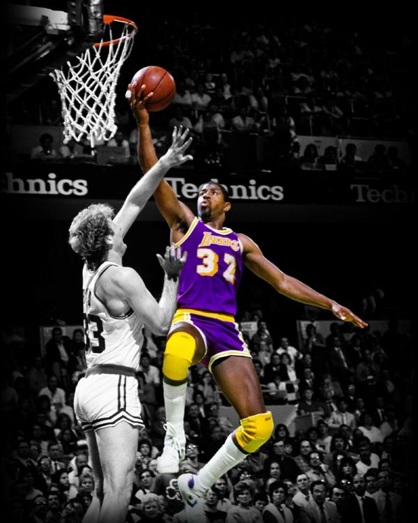 This photo art piece captures Magic Johnson of the Los Angeles Lakers shooting over Larry Bird ...