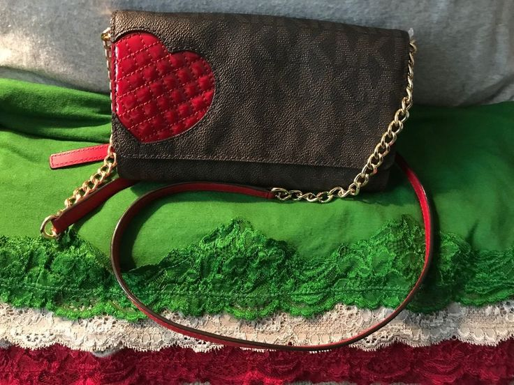 """CUTEST ever! Michael Kors Brown SIGNATURE """"Red Heart"""" Coated Canvas Credit Card Phone Case buy now @eBay"""