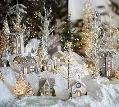 German Glitter Village benefiting Give a Little Hope campaign #potterybarn (Could Dollar store/paint/glitter these.)