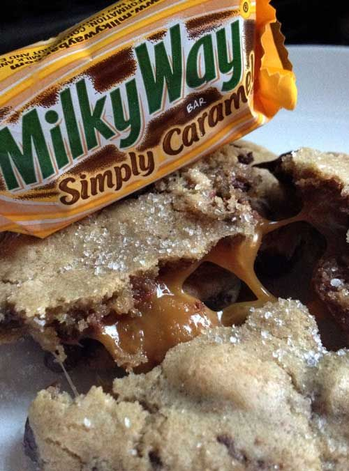 Recipe for Milky Way Salted Caramel Cookies - Salted Caramel is all the rage lately! Here is a chocolate chip cookie that is updated with the sweet Milky Way Simply Caramel fun size candy bars and Sea Salt, of course!