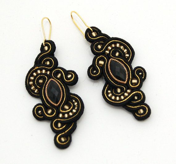 Gold Queen   handmade soutache earrings by martazare on Etsy, $60.00