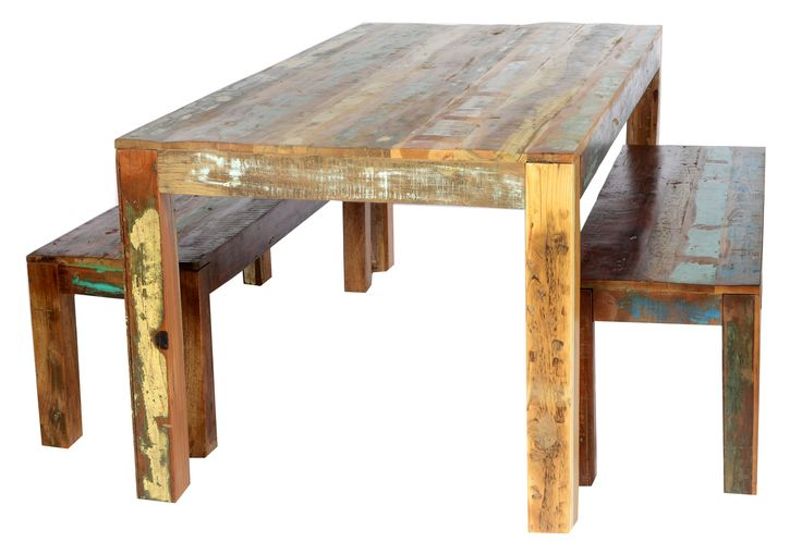 Industrial Dining Table with 2 Benches