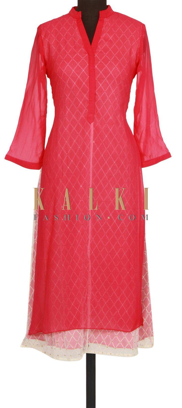 Rani pink kurti with white inner only on Kalki