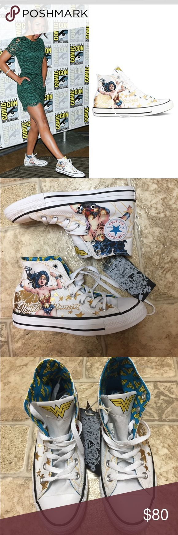 Wonder Woman  Converse All Star NWT Awesome Wonder Woman converse with white background, white laces. Never worn; NWT. Women's size 7, men's size 5. Converse Shoes Athletic Shoes