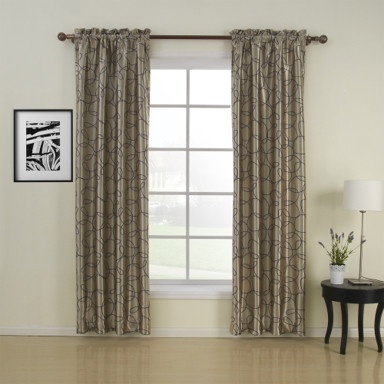 Geometic Contemporary Beige Blackout Curtains(Two Panels) – US$ 74.99