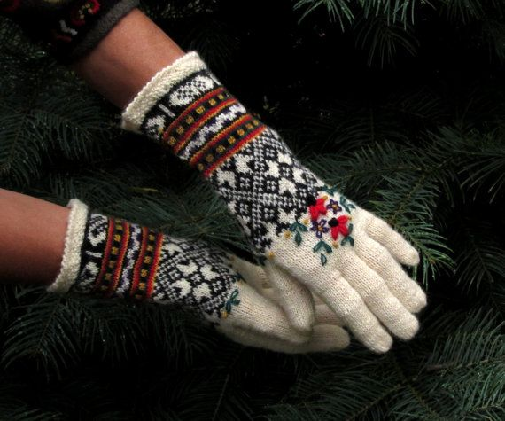 Fair Isle Latvian Embroidered Wool Gloves by Dom Klary by domklary, $45.00