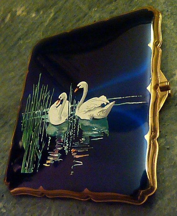 Vintage Stratton Blue Enamel Swan Cigarette Case Wallet Card