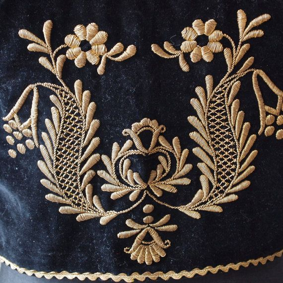 Czech Black Velvet and Gold Embroidery Metallic Thread Bullion Lace Up Vest Folk…