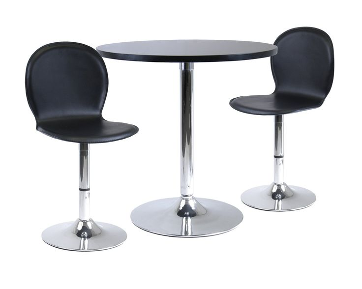 "Spectrum 3pc Dinning Table Set, 29"""" Round and 2 Swivel Faux Leather Chairs"