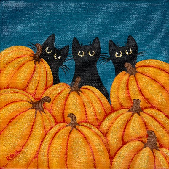 Halloween Black Cats and Pumpkins Original Folk by KilkennycatArt, $45.00