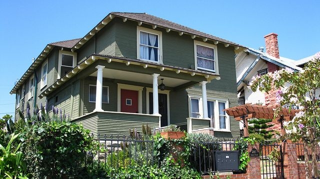 17 best images about grey green house exterior red door for Green house white trim