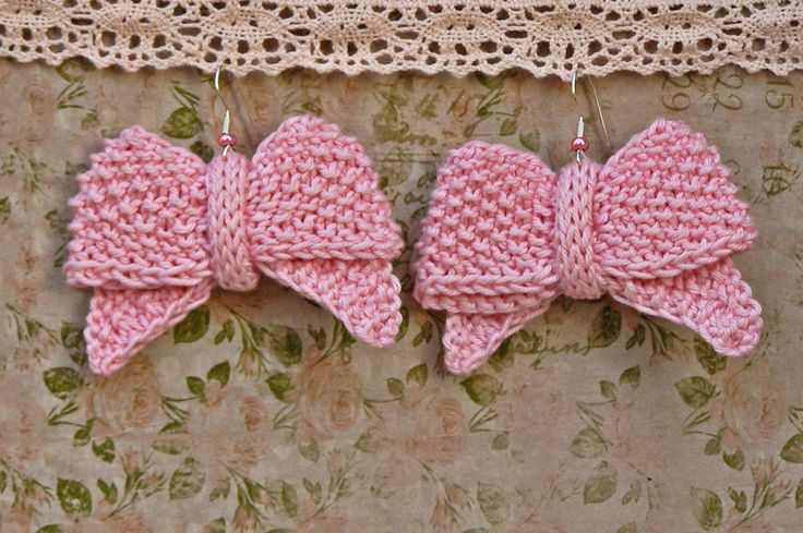 Dangle earrings ~ Pink knit cotton earrings ~ Unique gift for girl friend, bachelorette party theme accessories - pinned by pin4etsy.com