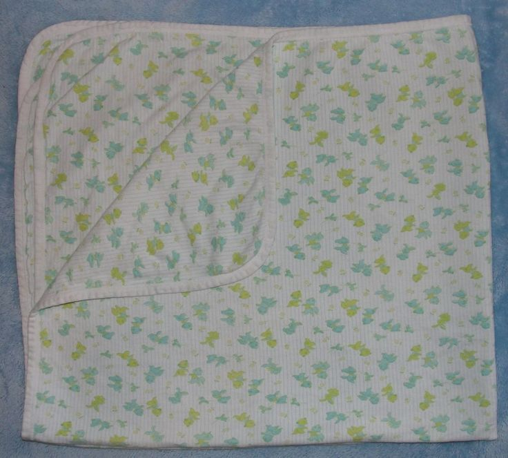 Vtg Carters Baby Blanket Yellow Green Bunny Bear Cat Animals Flower Cotton Knit  #Carters