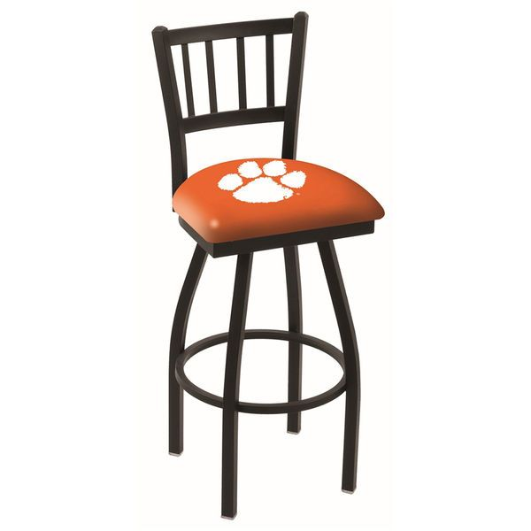 "Clemson Tigers 25"" Black Wrinkle Swivel Bar Stool with Jailhouse Back - $199.00"