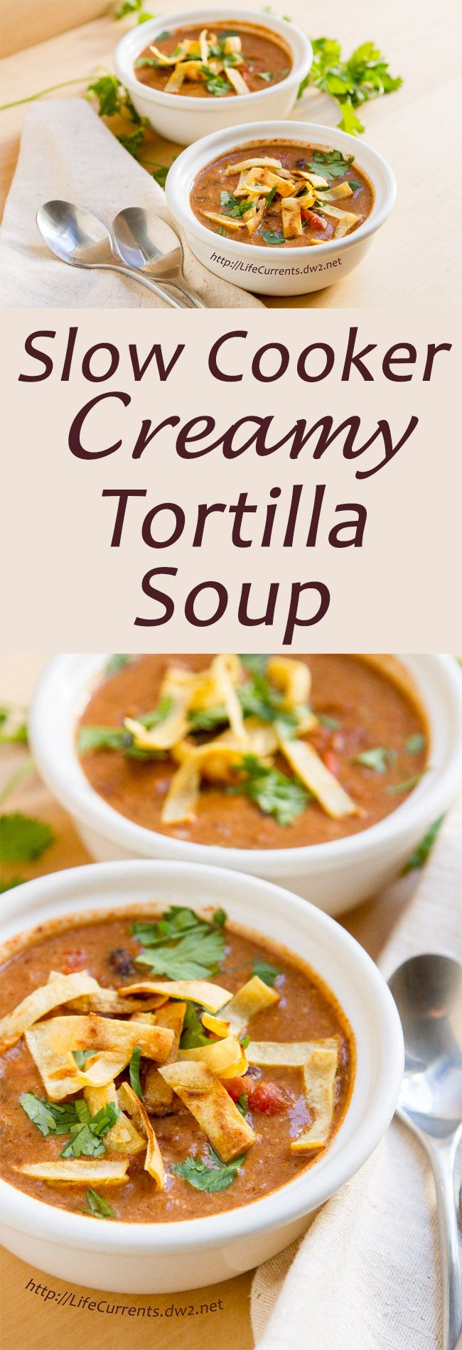 Slow Cooker Creamy Tortilla Soup is a great comforting soup. And, it's awesome that you can simply throw all the ingredients in the crock pot (slow cooker) and get a wholesome and yummy dinner!