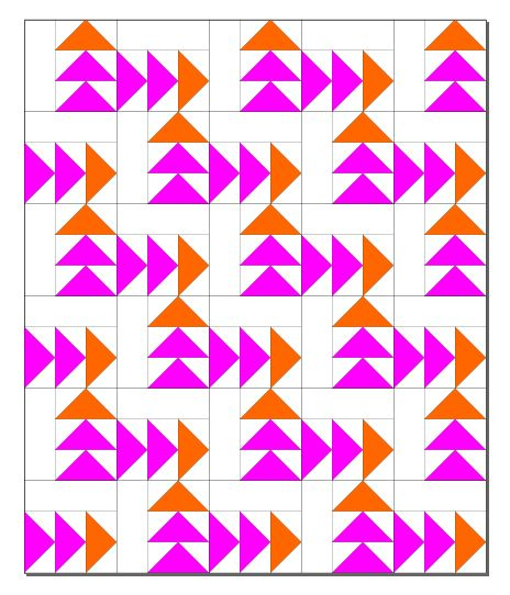 Full quilt layout - I'd change them to go down rather than up so they move across the quilt