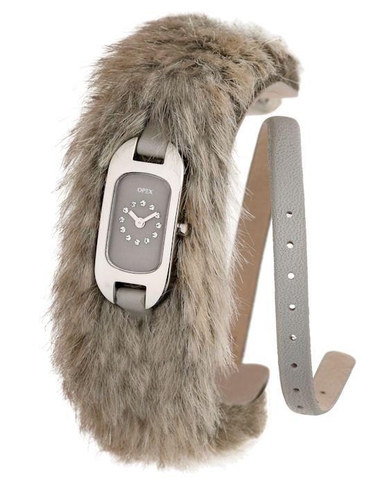 Montre Opex femme, modèle Ballerines avec fourrure, boîtier acier et bracelet cuir gris double tour.