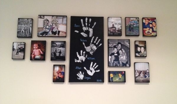 Couple ideas from Pinterest (DIY canvas pictures & handprints) put together for our own family wall gallery =) by kahvelihayaller^^