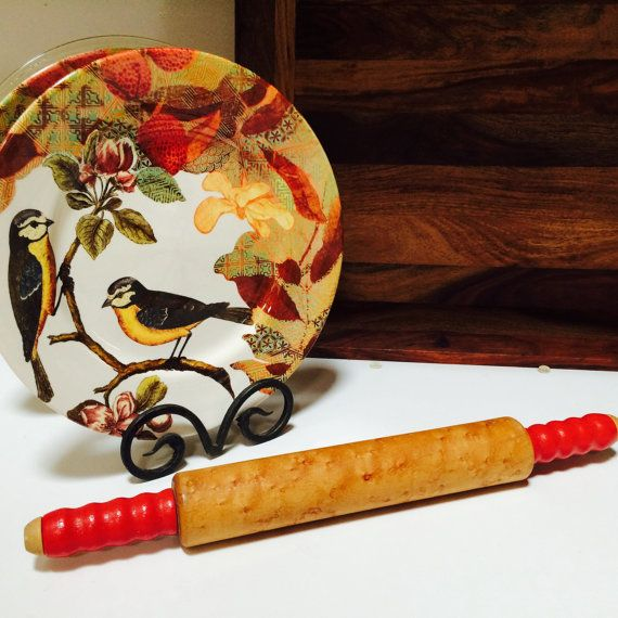 Vintage Red Rolling Pin Midcentury Kitchen Utensil by ACertainFeel
