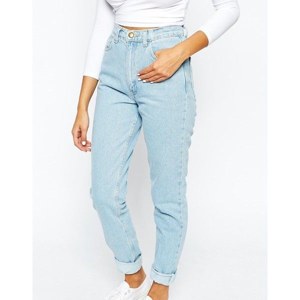 American Apparel High Rise Mom Jeans ($105) ❤ liked on Polyvore featuring jeans, highwaisted jeans, blue high waisted jeans, high-waisted jeans, highwaist jeans and blue jeans