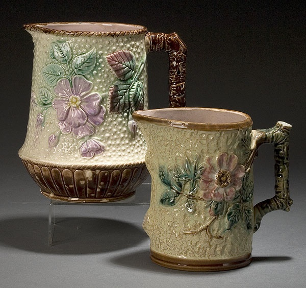 "Two Majolica ""Dogwood"" Pitchers"