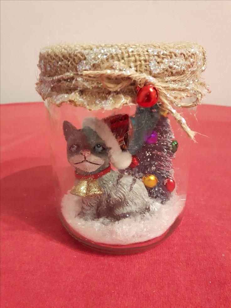 Décor Noël chat - pot masson
