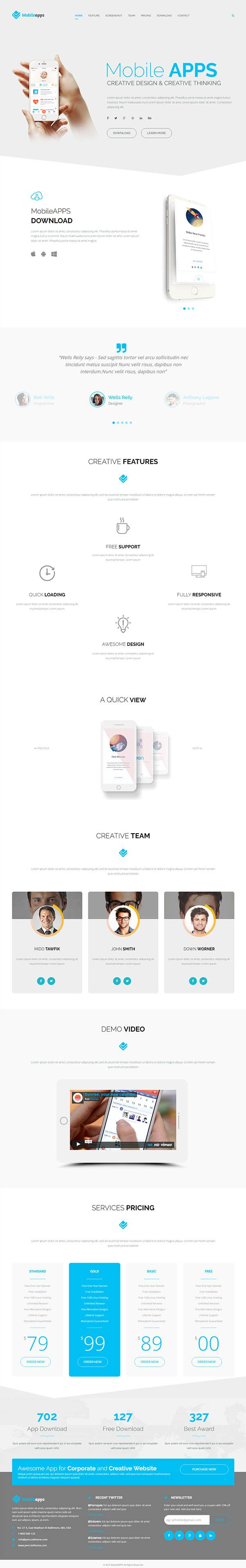 MobileApps – Responsive Mobile App Landing Page-HTML Template