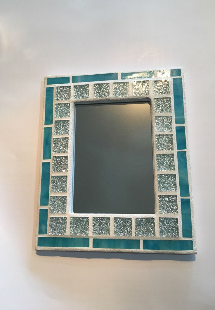 stained glass mosaic mirror or stained glass mosaic picture frame beach decor decor blue mirror christmas in july - Etsy Picture Frames