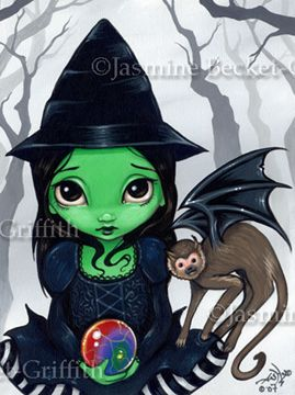 Wizard of Oz Art:  Wicked Witch and her Flying Monkey  by Jasmine Becket-Griffith