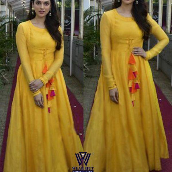b1703f9294362 Yellow long gown type dress womens online shopping in bd | Eid 2018 ...