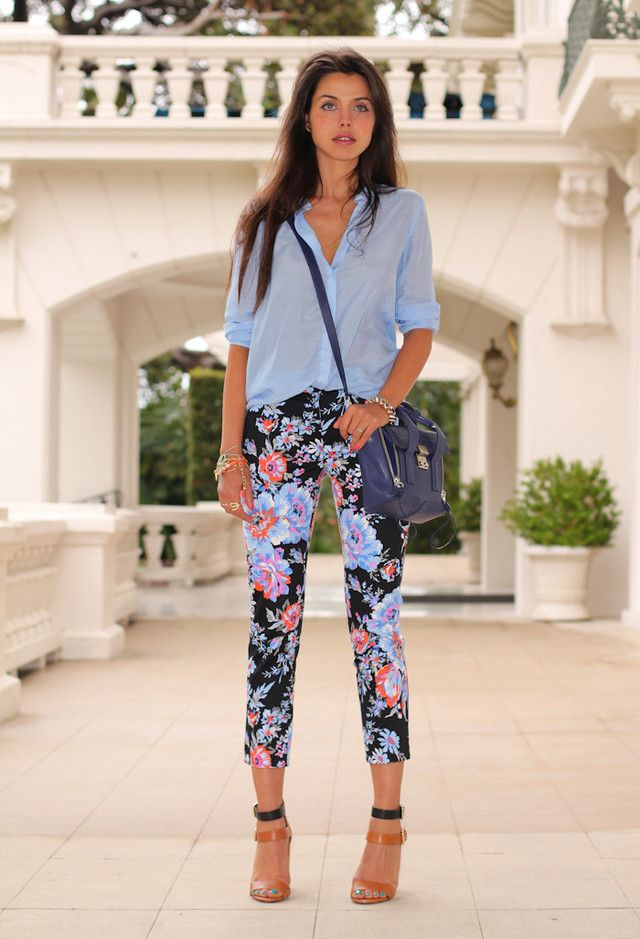 Florals Are Going To Be Spring Favorites!  Street wear fashion  outfit ideas. Floral print pants with pale blue shirt. 2014