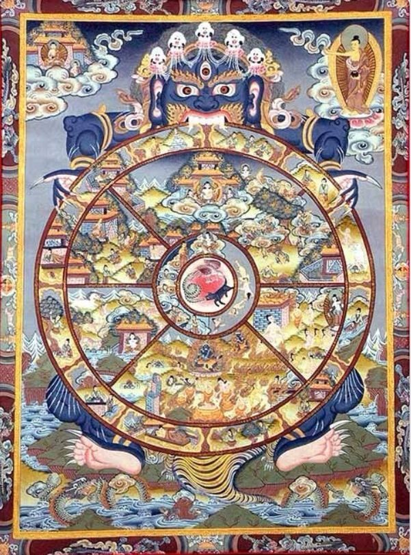 Buddhist Wheel of Life!!! On the upper right of this painting is the a person or Buddha standing outside of the wheel pointing or address to the universe Some Wheel of Life Paintings have shown the way that we can walk out to the kingdom of the Buddha, some don't. WHAT DO WE KNOW???: