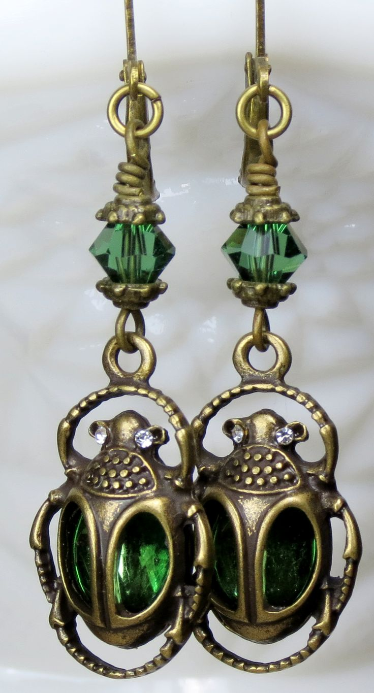 AMAZING MYTHICAL EGYPTIAN EARRINGS. Emerald Green Egyptian Scarab Beetle Crystal Earrings. UNIQUE GIFT MY YOURS TODAY!