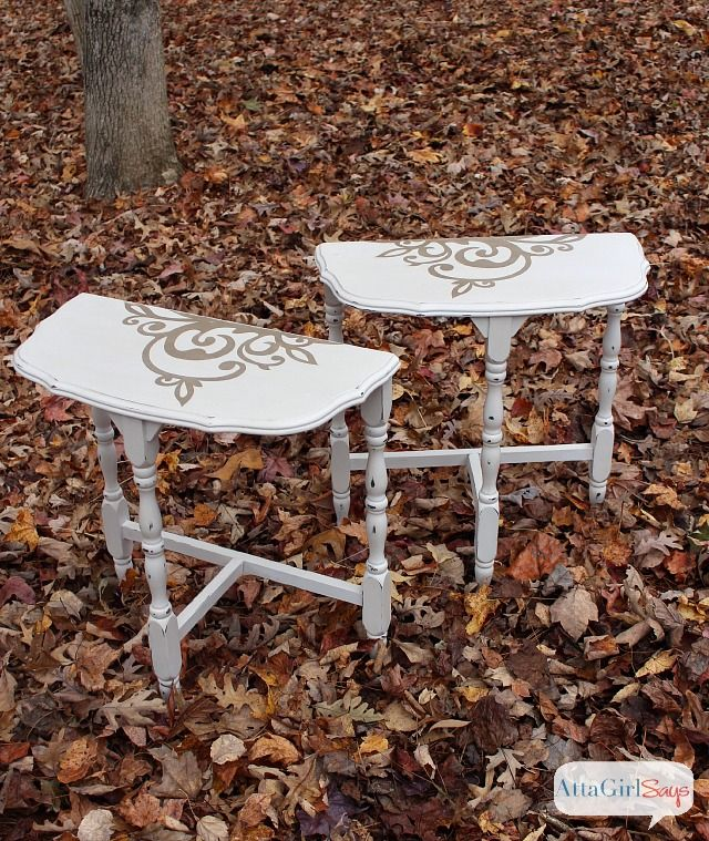 For The Love Of Vintage Furniture: Stenciled Demilune Table Makeover